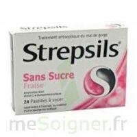 STREPSILS FRAISE SANS SUCRE, pastille édulcorée à l'isomalt, au maltitol et à la saccharine sodique à Forbach